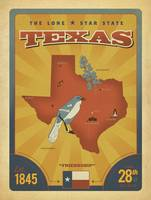 Texas: The Lone Star State  Retro Travel Poster