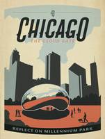 The Cloud Gate, Chicago Retro Travel Poster