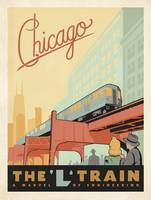 The L Train, Chicago, Illinois Retro Travel Poster