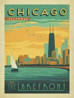 The Lakefront, Chicago Retro Travel Poster