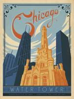The Water Tower, Chicago Retro Travel Poster