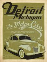 Detroit, Michigan Retro Travel Poster