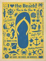 I Love the Beach - Retro Poster