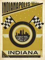 Indianapolis, Indiana: Circle City Retro Poster