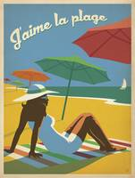 J'aime la Plage Retro Travel Poster