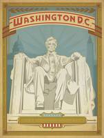 Lincoln Monument Retro Travel Poster