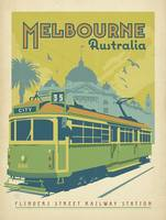 Melbourne, Australia Retro Travel Poster