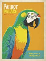 Parrot Palace Bar and Grill Retro Poster