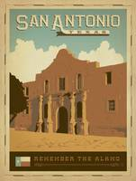 San Antonio, Texas Retro Travel Poster