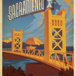 """Scenic Tower Bridge, Sacramento, California - Retr"" by artlicensing"