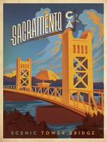 Scenic Tower Bridge, Sacramento, California - Retr