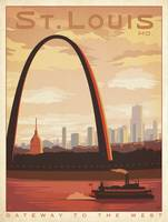 St Louis, Missouri Retro Travel Poster