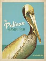 The Pelican Seaside Pub Retro Poster