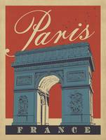 Arc de Triomphe, Paris, France Retro Travel Poster