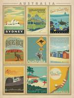 Australia Retro Travel Postcard Collection Poster