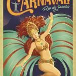 """""""Carnaval, Rio de Janeiro, Brazil - Retro Travel Po"""" by artlicensing"""
