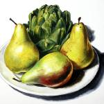"""Three Pears And Artichoke On Plate"" by artlicensing"