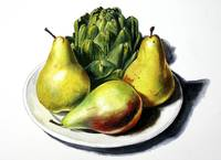 Three Pears And Artichoke On Plate