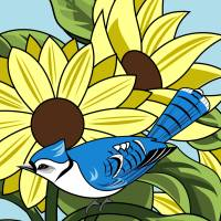Sunflowers and BlueJay Art Prints & Posters by Pixel Paint Studio