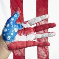 American Flag Hand Art Prints & Posters by Skip Nall