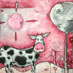 """""I Love Moo"" Original Painting"" by meganduncanson"