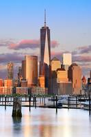 Freedom Tower & Manhattan skyline at sunset