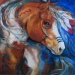 """BRAVEHEART INDIAN WAR HORSE"" by MBaldwinFineArt2006"