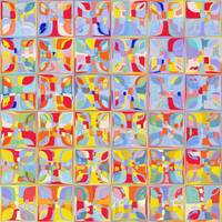 Summer Pastel Tiles. Modern Mosaic Tile Art Painti