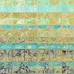 """Abstract Aqua Beach Tiles Panoramic Painting"" by MarkLawrence"