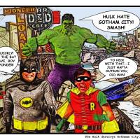 Hulk Destroys Gotham City, 1961 Art Prints & Posters by David Caldevilla