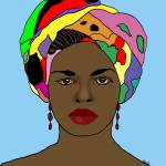 """Digital Art African Woman in Head dress"" by KateFarrantArtist"