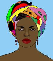 Digital Art African Woman in Head dress