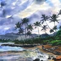 Floravita's Coconut Coast Daybreak in Kauai Art Prints & Posters by Jenny Floravita