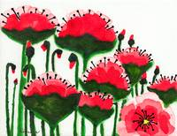 Original Expressive Wild Red and Pink Poppy Field