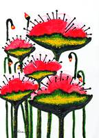 Expressive Wild Red Pink and Yellow Poppies w4a