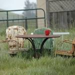 """Table Chairs n Morning Coffee"" by ClotheslineArt"