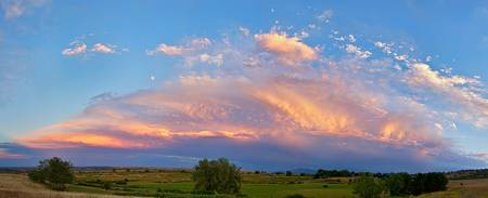 Storm Sunset Moon Longmont to Boulder CO Panorama