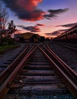 Strasburg Railyard at Sunset