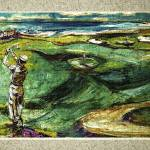 """""""Golfing by the Sea Oil Painting"""" by GinetteCallaway"""