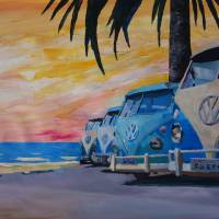 The VW Volkswagen Bully Series - The Blue Surf Bus Art Prints & Posters by M Bleichner