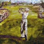 """""""Golf Painting Ben Hogan Merion 18th Hole"""" by GinetteCallaway"""