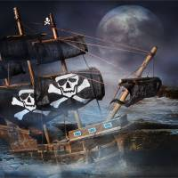 ON THE ROCKS  PIRATE GHOST SHIP Art Prints & Posters by Ronel Broderick