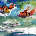 """Clown Fish Oceans Watercolor Painting"" by GinetteCallaway"