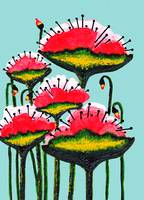 Expressive Wild Red Pink and Yellow Poppies w4b