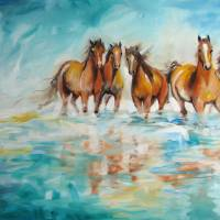 """OCEAN BREEZE WILD HORSES"" by MBaldwinFineArt2006"