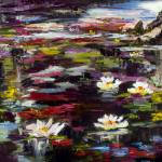 """Black Water Lily Pond Oil Painting"" by GinetteCallaway"