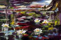 Black Water Lily Pond Oil Painting