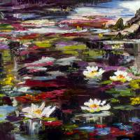 Black Water Lily Pond Oil Painting Art Prints & Posters by Ginette Callaway