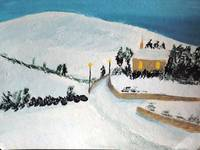 Church Snow Scene Irish Landscape Painting
