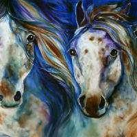 """3 WILD APPALOOSA HORSES"" by MBaldwinFineArt2006"